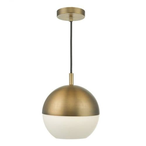 Dar AND0142 Andre 1 Light Pendant Aged Brass